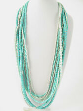 Lucky Brand Silver Tone Major Turquoise Stone Beaded Strand Necklace $79