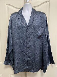 MURANO 100% SILK BLUE PAISLEY PRINT PAJAMA TOP SHIRT MEN'S XL NEW!