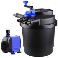 1600 Gal Pressure Pond Filter w/ 13W UV Sterilizer Koi Fish+ 926GPH Water Pump