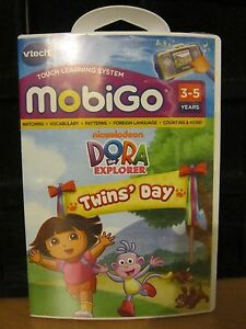 Vtech MobiGo Touch Learning Game DORA THE EXPLORER TWIN'S DAY 3-5 YRS BRAND NEW