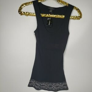 Express Women's Black Sleeveless Scoop Neck Beaded Tank Top S