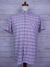 Vintage 1960s S-Sleeve Red / White / Blue Checked Shirt Mod Soul -L- DS32