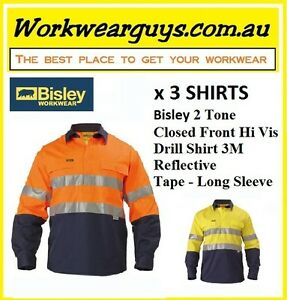 3 x BISLEY WORKWEAR-2 Tone Clsd Front Hi Vis Drill Shirt 3M Reflect Tape BTC6456