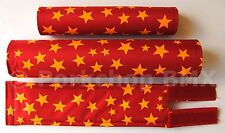 FLITE old school BMX bicycle padset foam racing pads STARS - RED & YELLOW