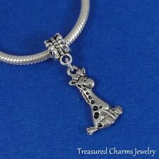 Silver BABY GIRAFFE Cute Dangle Bead CHARM fits EUROPEAN Bracelet
