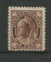 CANADA 1897 QUEEN VICTORIA FINE LIGHTLY MOUNTED MINT 6 CENT BROWN SG147