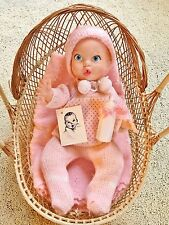 """Vintage 1972 The Gerber products Baby Doll 16"""" New tagged pink outfit & Bassinet"""