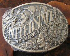 Vtg USA Medley of American by Award Design Medals, Soild Brass Belt Buckle NEW!