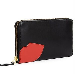 LULU GUINNESS ABSTRACT RED LIPS CONTINENTAL WALLET SMOOTH BLACK LEATHER GIFT