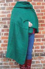 Warm Snug Yak Wool Style Nepalese Himalayan Blanket/Large Shawl: Emerald Green
