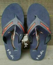 Men's Huk Flipster KC Scott Blue Marlin Flip Flop Sandals Sz 8 New Ret. $24.99