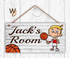 Basketball Sign, Personalized Sign, Kid's Name, Kids Door Sign, Sports 5x10 Sign