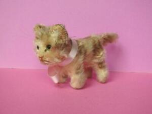 "STEIFF VINTAGE 1946-59 MOHAIR STANDING TABBY CAT KITTEN NO BUTTON 3"" (7.5cm)"