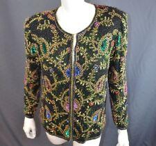 Laurence Kazar VTG Cardigan Blazer Jacket M Sequin Silk Multicolor Floral Black