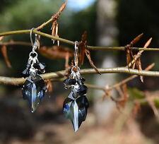 Black Swarovski crystal leaf earrings dark mori strega gothic elf witch jewelry