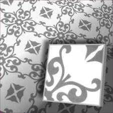 Zementfliese mit Ornament mediterrane Bodenfliese Motiv Karina weiss grau