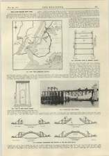1915 Hell Gate Bridge New York mappe diagrammi di sezioni