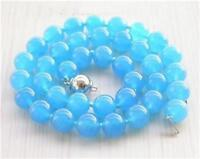 """AAA Natural 10mm Rare Blue South America Topaz Round Gemstone Beads Necklace 18"""""""