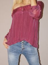 !!! SALE !!! Tunika Pünktchen Blogger Ballon Bluse 50% Seide S 36 -40 M L Beere