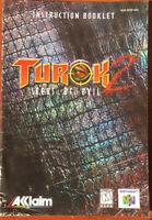 Turok 2 Seeds of Evil Instruction Booklet N64 Nintendo 64 Booklet Only