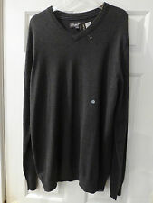 MEN'S EDDIE BAUER V-NECK SWEATER LARGE TALL CHARCOAL COTTON & WOOL NWT