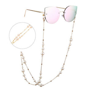 Pearl Beaded Eyewears Sunglasses Rope Strap Necklace Reading Glasses Chain=XP_WR