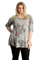New Womens Top Plus Size Ladies Floral Print Shirt Button Tunic Blouse Nouvelle