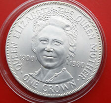 "Isle of Man: 1 Crown 1980 Silber, ""Birthday of Queen Mom"", #F1067, ST-BU"