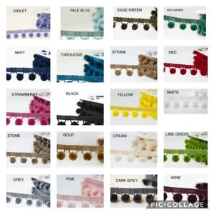 Luxury Pom Pom Trim , Premium Velvet Feel, 20 Colours, 15mm Balls,Top Quality