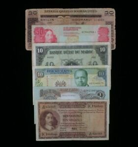 African Nations 6-Notes Currency Lot Biafra Kenya Morocco Somalia S.Africa
