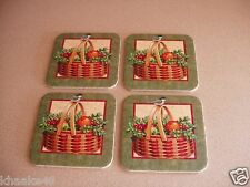Longaberger Christmas Basket Coaster Set Of 4 Chickadee Cork New * Free Shipping