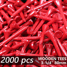 "X 2000 RED NEW GOLF TEE NATURAL WOODED TEES 3-1/4"" 80MM LONG LENGTH"