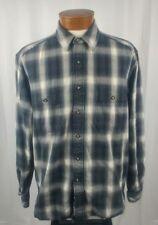 Eddie Bauer Men's Long Sleeve Button Front Shirt Blue Grey White Plaid Cotton LT