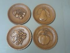 Set Of (4) BURWOOD Products Fruit Wall Plaques 11221 Excellent Condition
