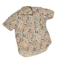 Vintage LL Bean Cool Weave Hawaiian Floral Large Button Shirt Jamaica Blue Men S