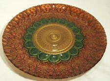 """Akcam Mediterranean Gold, Red & Green 12 3/4"""" Centerpiece Aztec Glass Plate"""