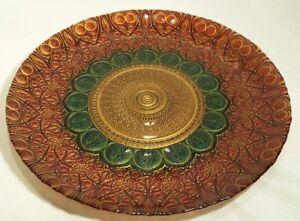 Akcam Mediterranean Gold Red and Green Centerpiece Aztec Glass Plate Platter