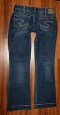 WOMENS SILVER SUKI DARK WASH STRETCH FIT BOOTCUT JEANS SIZE 32X32