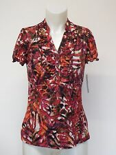 Women Blouse Cap Sleeves Laced Shell Red Floral Multi Small AGB
