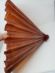 Vintage Asian Wood Bamboo Rice Paper Parasol Umbrella in Box Japanese Geisha