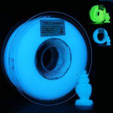 AMOLEN 3D Printer Filament, PLA 1.75mm, Glow In the Dark Blue/Green, 1KG/200G.