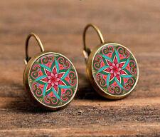 Mandala Bronze Glass cabochon 18mm handmade Earrings Jewelry GB58