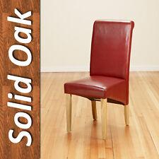 4 Faux Leather PU Dining Chairs Scroll Back Oak Leg Furniture Kitchen Restaurant