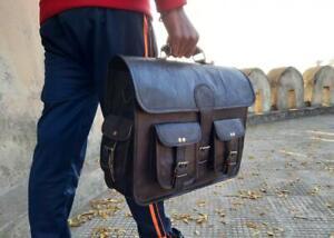 Real Handmade Genuine Black Goat Leather Laptop Messenger Shoulder Briefcase Bag