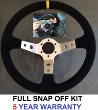 SNAP OFF QUICK RELEASE SUEDE STEERING WHEEL & BOSS KIT HUB FOR BMW E46 SILVER