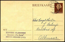 Netherlands 1963, 8c Brown Stationery Card Used #C40307