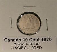 1970 Canada Dime - UNCIRCULATED - from original mint roll - LOW MINTAGE KEY DATE