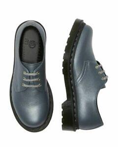 Dr. Martens 1461 Oxford Womens Shoes Derby Gunmetal Metallic Virginia Size 8