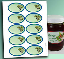 "10 OVAL Jelly Jam Marmelade or Product LABELS 3.25 x 2"" Write-on mason jar"