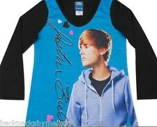 Justin BIEBER Cute Haircut Nightgown PAJAMAS Pjs Girl's 10/12 NeW Long Sleeve